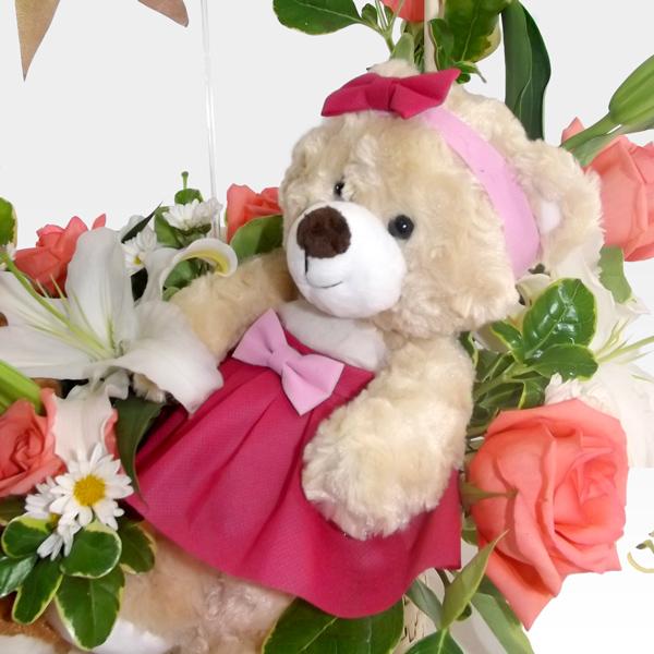 Peluches de amor con rosas y lirios fo 2 arreglos - Peluches con foto ...