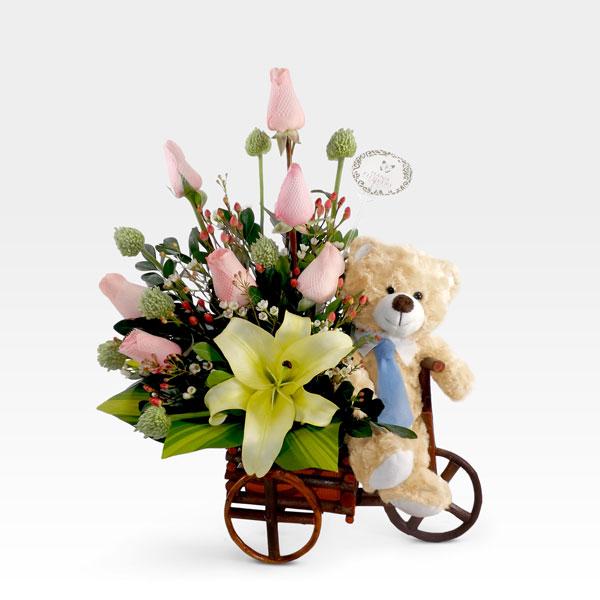Arreglo de Rosas en Carreta (FO-10) | Arreglos florales | Hana Flowers