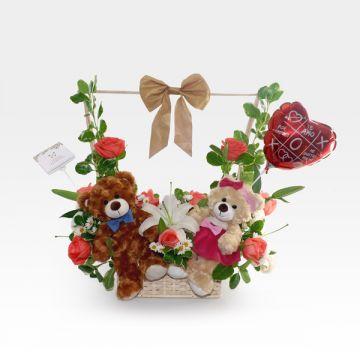 Peluches de amor con Rosas y Lirios (FO-2)