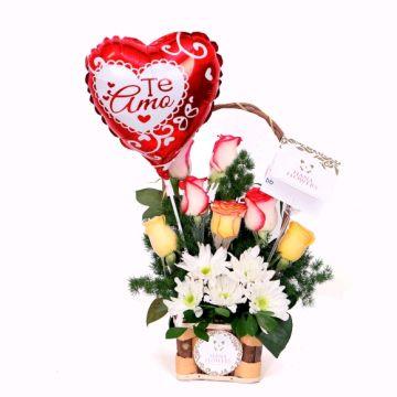 Canasta de rosas variadas(CR-9)