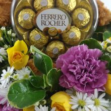 Arreglo Floral en canasta con peluche y chocolates (FO-8) - #1