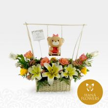 Arreglo Floral con Columpio - Osita (BB-1A)