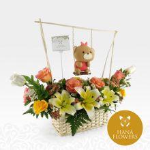 Arreglo Floral con Columpio - Osita (BB-1A) - #1
