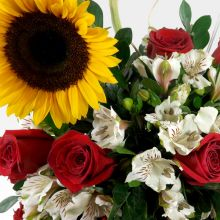 Arreglo de girasoles, rosas y astromelias - #1