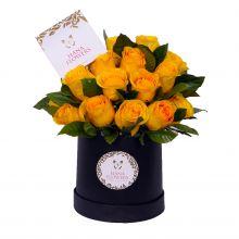 Box redondo de rosas amarillas (BR-25)