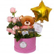 Oso con bombones y rosas (OR-19)